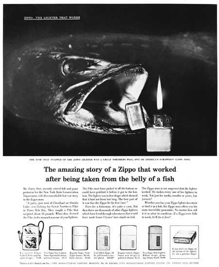 Neuvěřitelný příběh zapalovače Zippo, který fungoval i po vytažení z břicha ryby