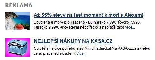 Dvě PPC reklamy na serveru iDnes.cz