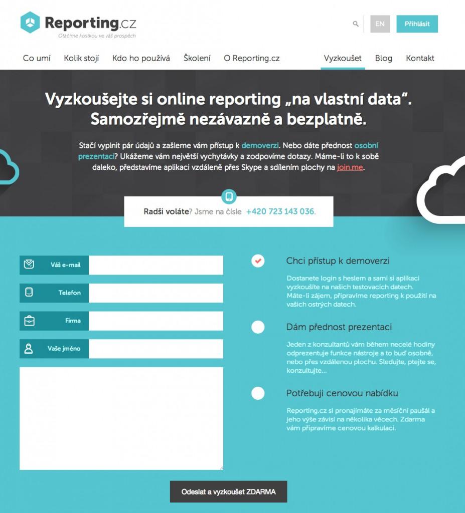 Reporting.cz –Vyzkoušet