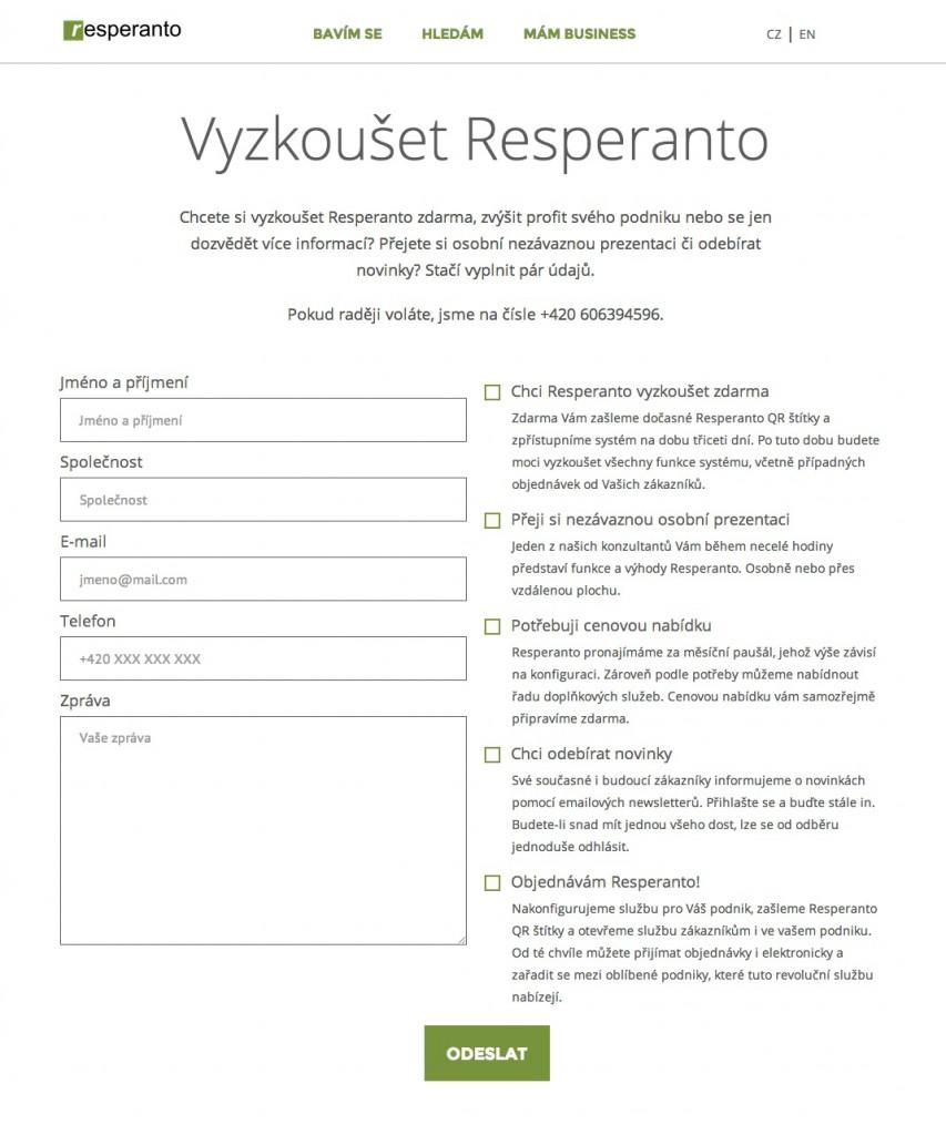 Resperanto –Vyzkoušet