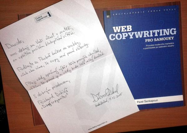 Dopis s věnováním a knížkou pro vítěze tipovací soutěže
