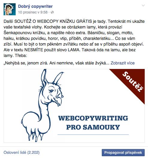 Soutěž o knížku na Facebooku Dobrého copywritera