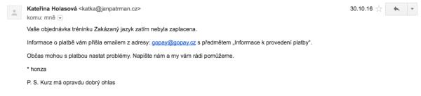 """E-mail o nezaplacené objednávce od """"Kateřiny"""""""