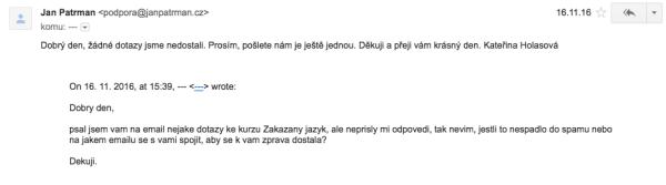 Konečně mi někdo odpovídá na e-mail