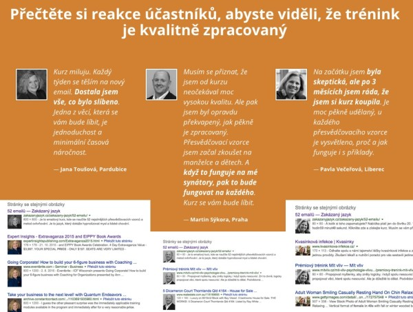 Falešné fotky u testimonialů kurzu Zakázaný jazyk